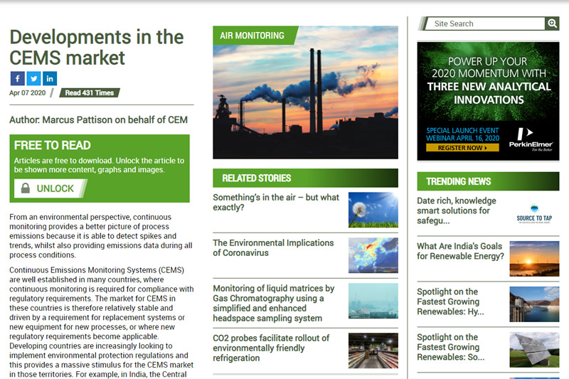 April 2020 - Developments in the CEMS market From Environmental Technology