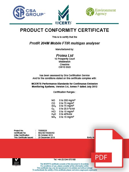MCERTS Product Conformity Certificate