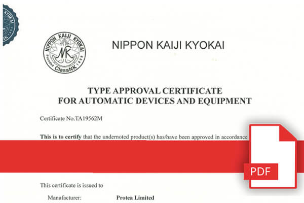 November 2019 - Type Approval Certificate For Marine Automatic Devices & Equipment Japan